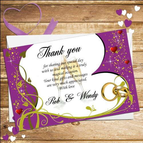 10 Personalised Wedding Thank you cards N15